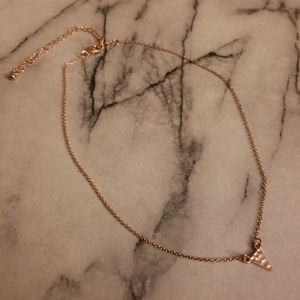 Rose Gold Dainty Hammered Triangle Necklace